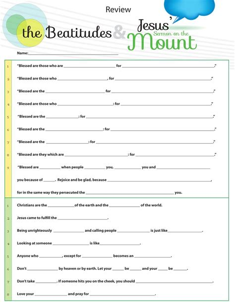 Beatitudes Printable Worksheets by Worksheet To Teach Jesus Sermon On The Mount From Matthew