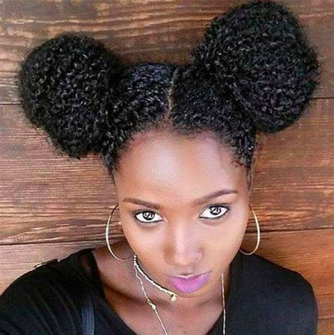 natural hairstyles two buns black women double bun hairstyles for naughty girl look