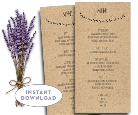 menu card template word modern clean printable wedding menu template kraft menu template 4 x 8