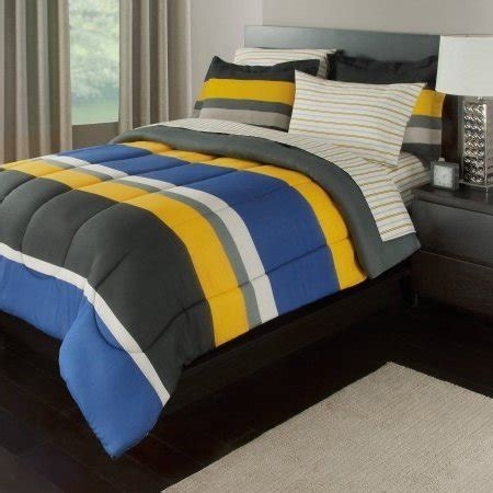 yellow pattern sheet set 7 piece boys queen rugby stripes bed in a bag comforter