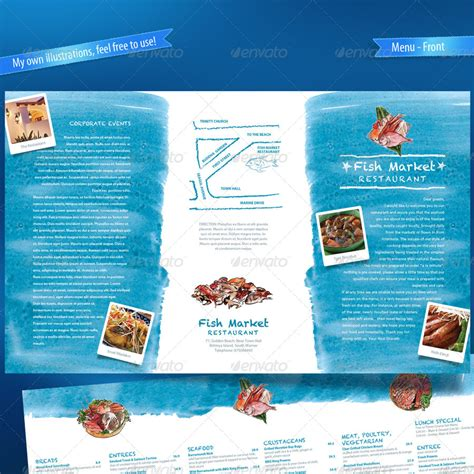 seafood menu templates seafood restaurant menu map card by boben graphicriver