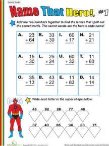 name that hero two digit addition 1 worksheet