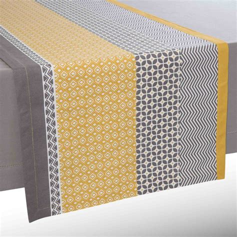 Yellow Table Runners by Cotton Table Runner Yellow Grey L 150 Cm Maisons
