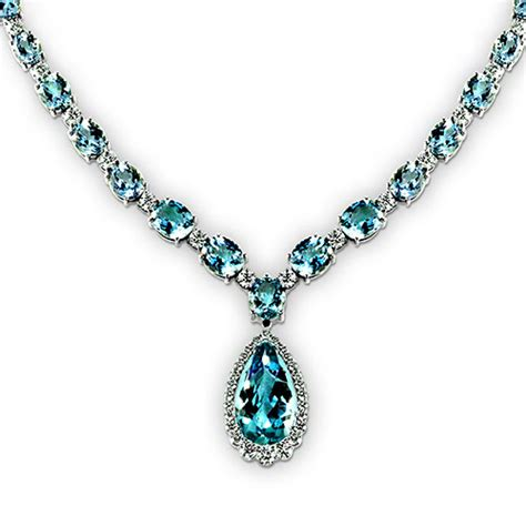 Pear Shape Aquamarine Necklace in 14K White Gold   Shop for Jewelry Online   DazzBox.com