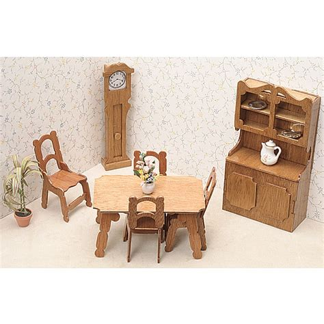 home design kit with furniture unfinished wood dining room dollhouse furniture kit free