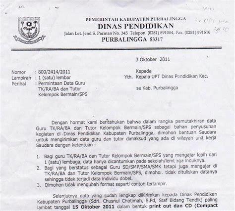 arsip sirau surat kepala dinas purbalingga tentang pendataan guru tk