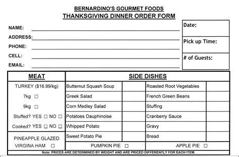 Thanksgiving Food Order Form Template Besttemplates123 Sle Order Templates Pinterest Food Order Form Template Free