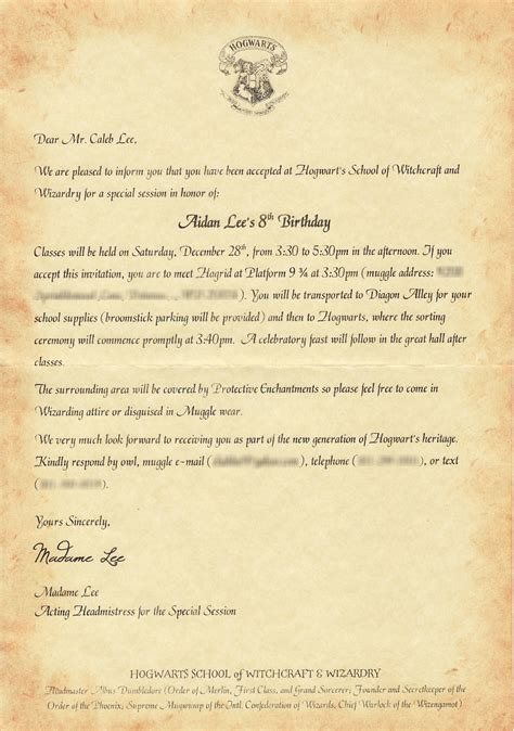 the lee ride harry potter party invitations