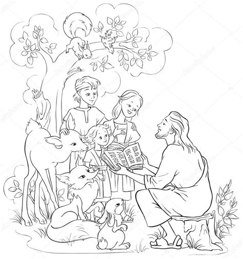 coloring page of jesus reading the bible jesus reading the bible to children and animals coloring