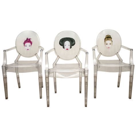 White Leather Armchairs Set Of Three Louis Ghost Chairs Exclusively Designed By