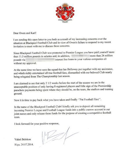 Release Letter For Player blackpool president demands club s owners put football