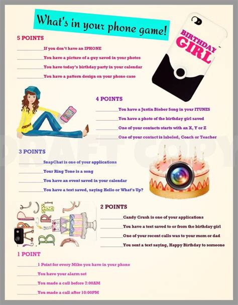 printable games for sweet 16 party girls birthday party game whats in your phone birthday