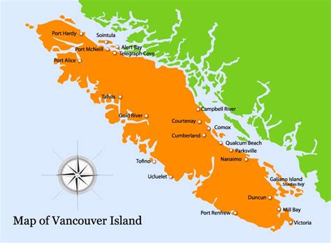 map of vancouver island pin vancouver island map showing roads ferries and