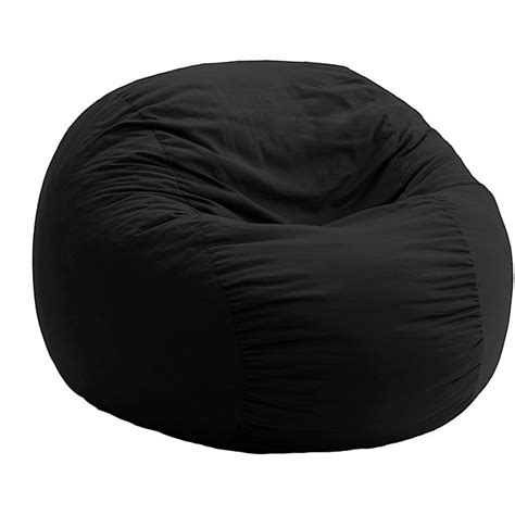 Black Bean Bag Chairs by Fufsack Black Twill Bean Bag Chair Free Shipping Today