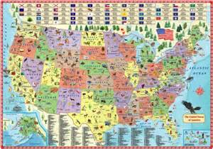illustrated map of the us for laminated children s