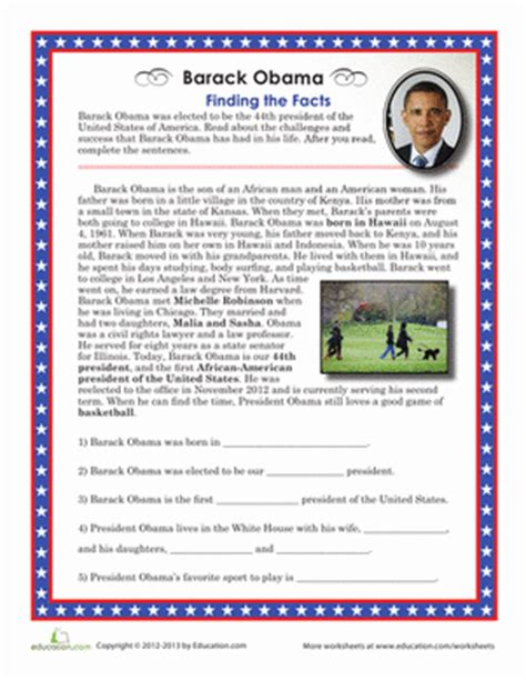 4th grade activities for president obama just b cause barack obama facts worksheet education com