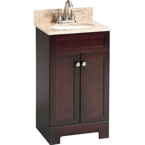 vanity top inch for vessel sink lowes bathroom shop style selections 18 1 2 in espresso longshire single sink bathroom vanity with top at lowes