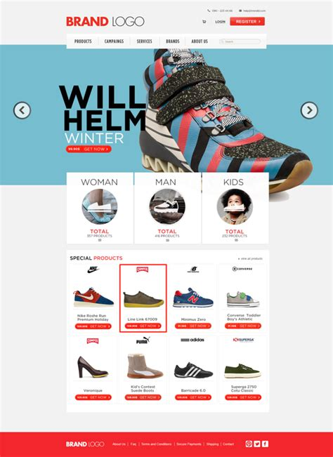 e shopping template shoes ecommerce website psd template psd
