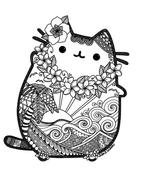 cute mandala coloring pages hawaiian pusheen fan art pusheen pinterest pusheen