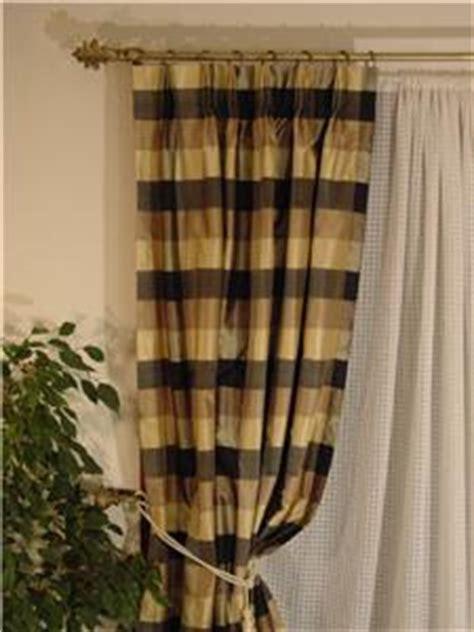 Gold Plaid Curtains Black Taupe Gold Plaid Dupioni Silk Drape Curtain Ebay