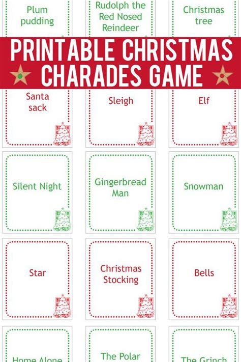 christmas charades game printable game cards charades