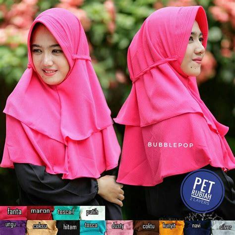 Jilbab Instan Tali Rubiah Ootd jilbab pet rubiah 2 layers sentral grosir jilbab
