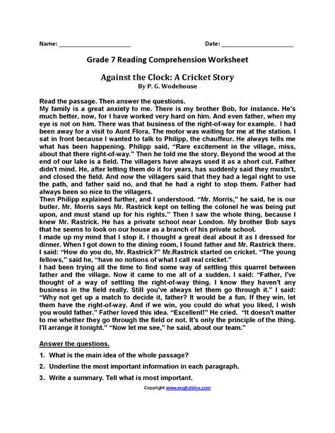 printable reading comprehension test for 7th grade reading worksheets seventh grade reading worksheets