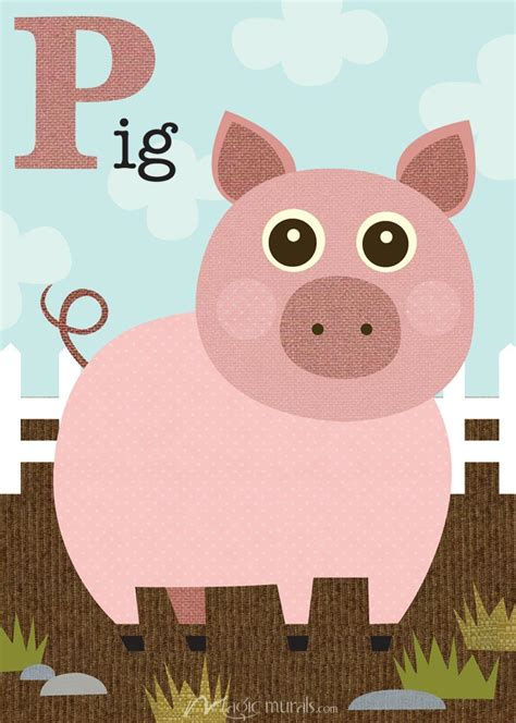 Removable Wall Murals p is for pig