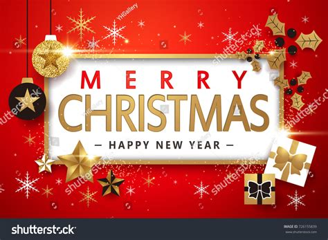 merry christmas happy new year design stock vector