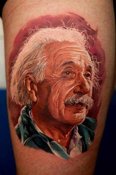 albert einstein tattoo a photorealistic portrait of albert einstein by