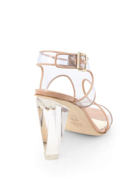 Sandal Deo 3 Marc Stuart Shoes lyst stuart weitzman seeall clearheel sandals in brown