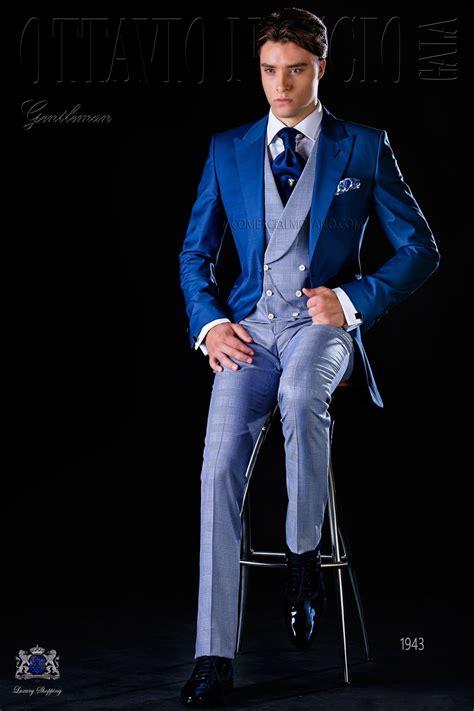 fresco tejido traje de novio azul royal con pantal 243 n gales azul trajes