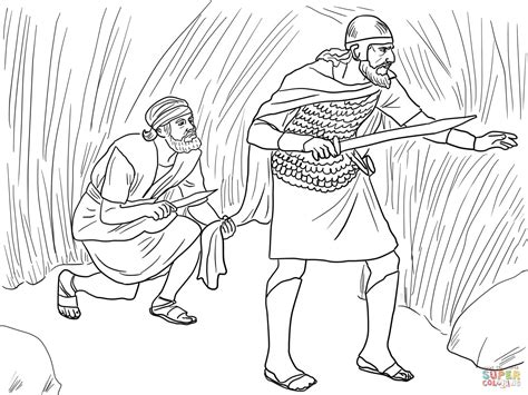 coloring pages for king saul david cuts saul s robe coloring page free printable