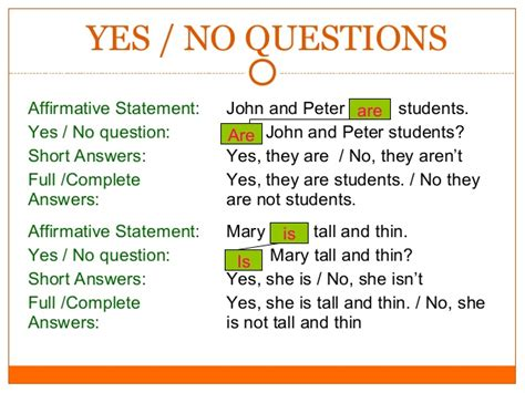 exles of yes or no questions basics of grammar edited