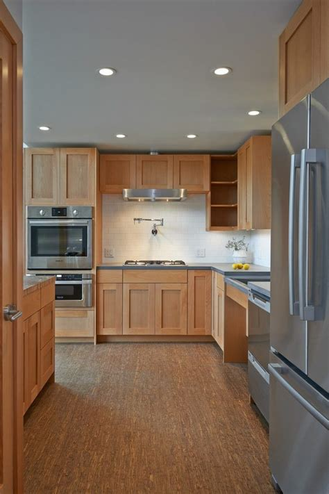 delightful beech wood cabinets kitchen transitional