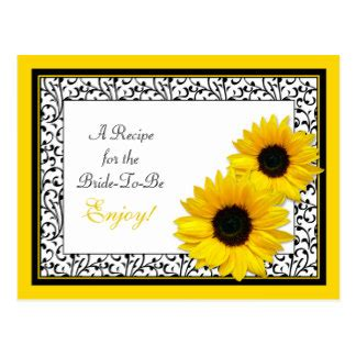sunflower recipe card template black white yellow damask wedding gifts t shirts