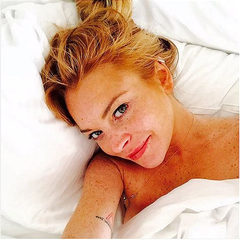 Lindsay Lohans A Firecracker In Bed by No Makeup Selfies Their Best