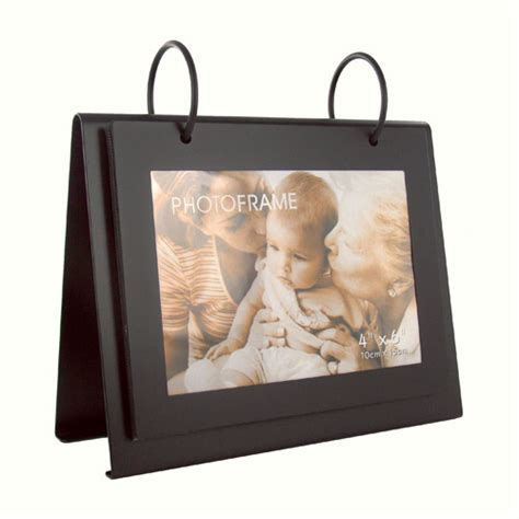 Wedding Album Stand personalized black flip photo album picture frame on metal