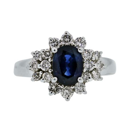 14k white gold blue sapphire cocktail ring