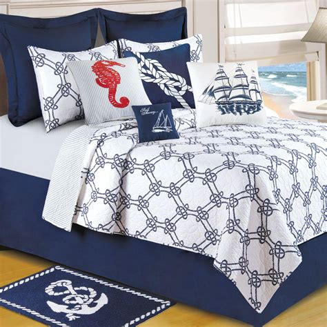 nautical coverlets knotty buoy cotton nautical quilt bedding