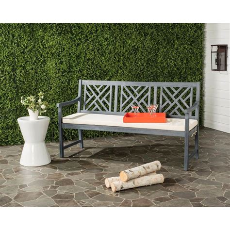 3 seat bench cushions outdoor safavieh bradbury outdoor 3 seat acacia patio bench with