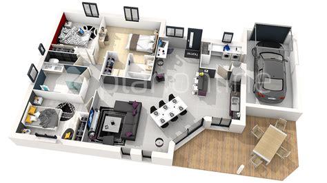 Impressionnant Plan Maison 4 Chambre Plain Pied #1: extraordinaire-plan-maison-plain-pied-100m2-3d-50m2.jpg