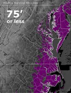 how far inland would a 300 foot tsunami go on the east