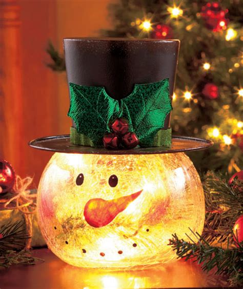 crackle glass snowman light up christmas holiday table