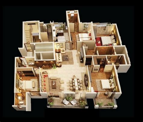 house design plans 3d 4 bedrooms 4 bedroom apartment house plans