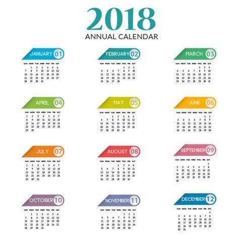 Calendario Annuale 2018 Calendario Annuale 2018 Scaricare Vettori Premium