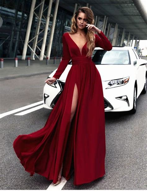 Sleeve Slit Side V Neck Dress v neck sleeves prom dress with side slit on luulla