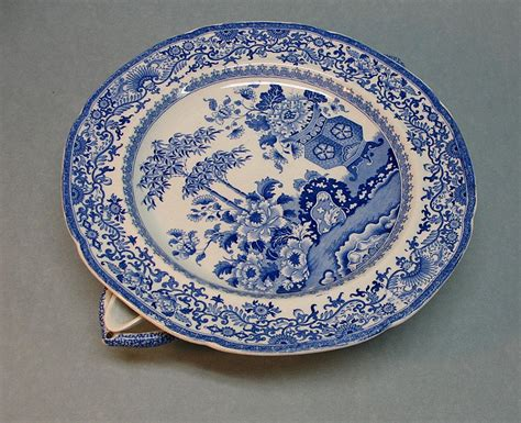 blue and white staffordshire warming dish ca 1835 40 fort hill studios ruby lane