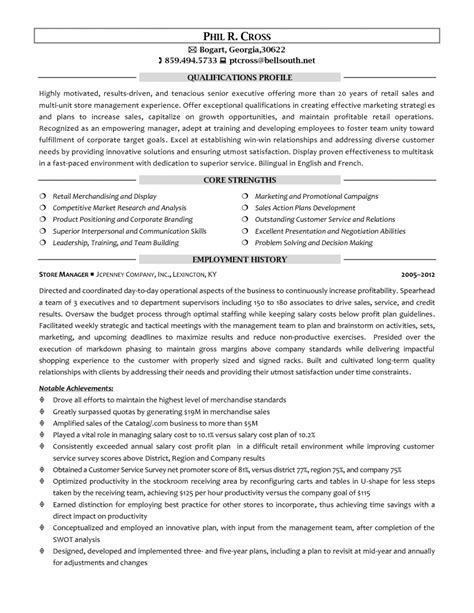 Retail Sales Resume Sles by 14 Retail Store Manager Resume Sle Writing Resume