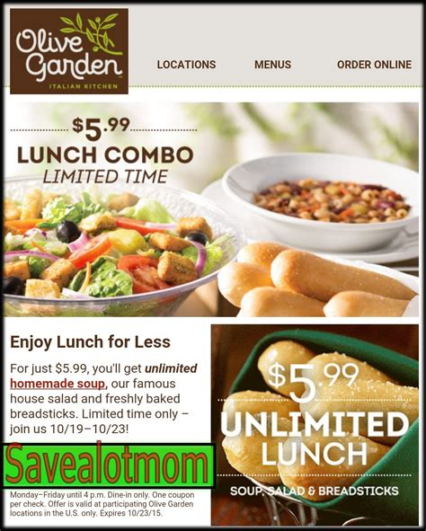 olive garden unlimited soup salad and breadsticks for 5